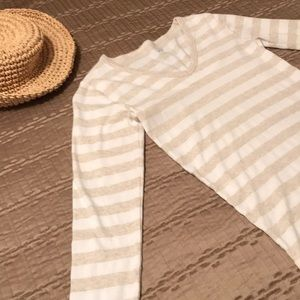 GAP top, beige and white stripes, S